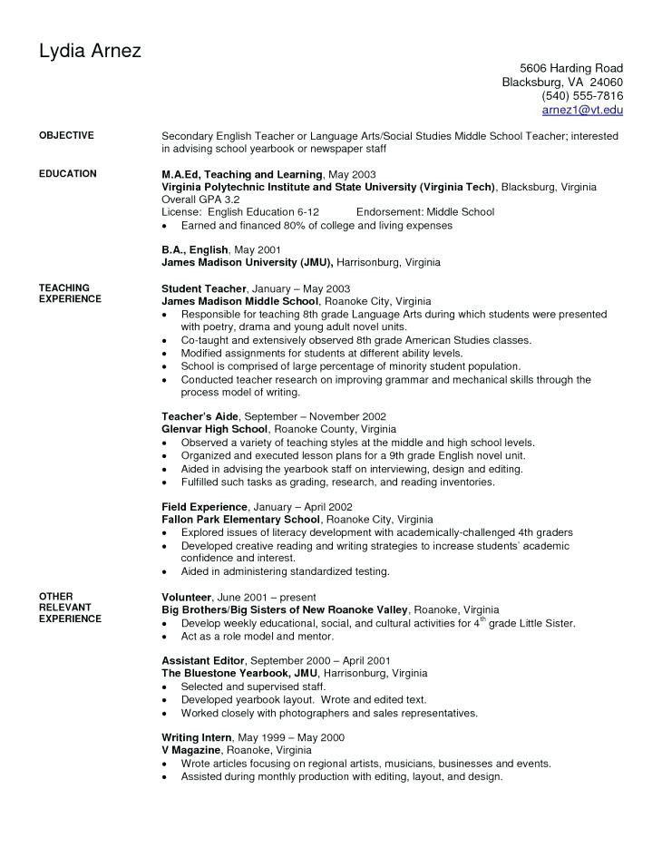 Middle School Resume Worksheet In 2020 Teacher Resume Examples Teaching Resume Examples Teacher Resume