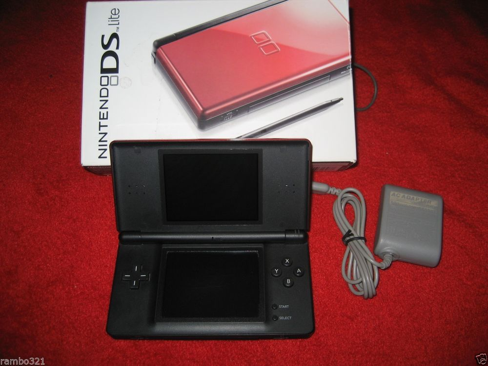 Nintendo DS Lite Crimson Red & Black Plays Both DS & GBA Video Game Console NDS #Nintendo
