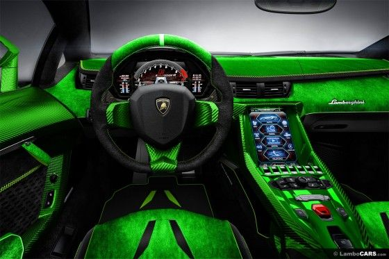 A Rather Green Tinted Interior Inside This Virtual Lamborghini