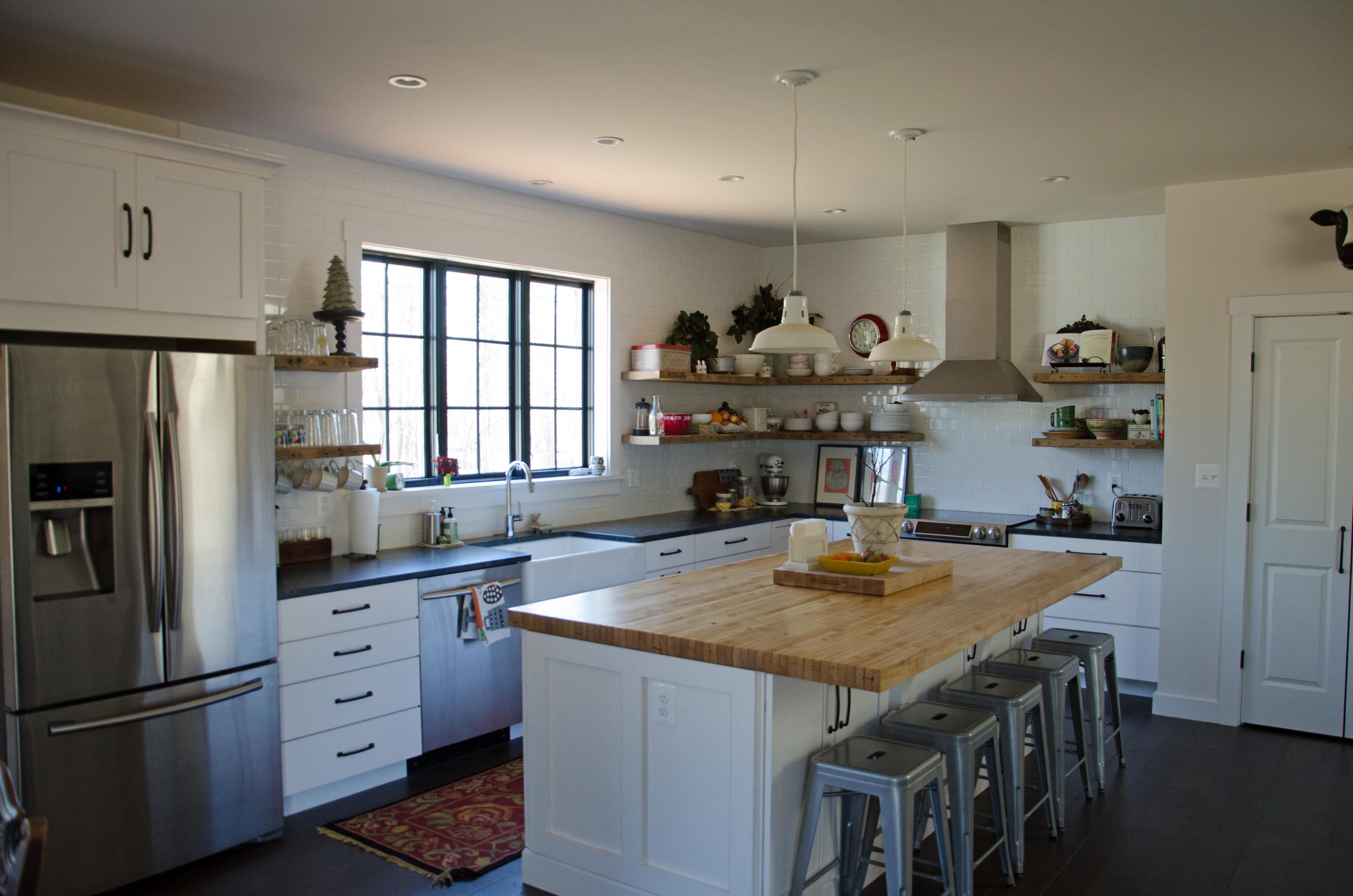 beautiful kitchen sans wall cabinets rustic shelving on kitchen shelves instead of cabinets id=65093