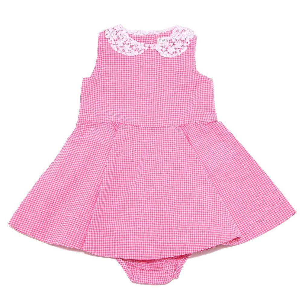sale retailer 4b36c d8559 7420W vestito bimba girl RALPH LAUREN white/pink cotton ...
