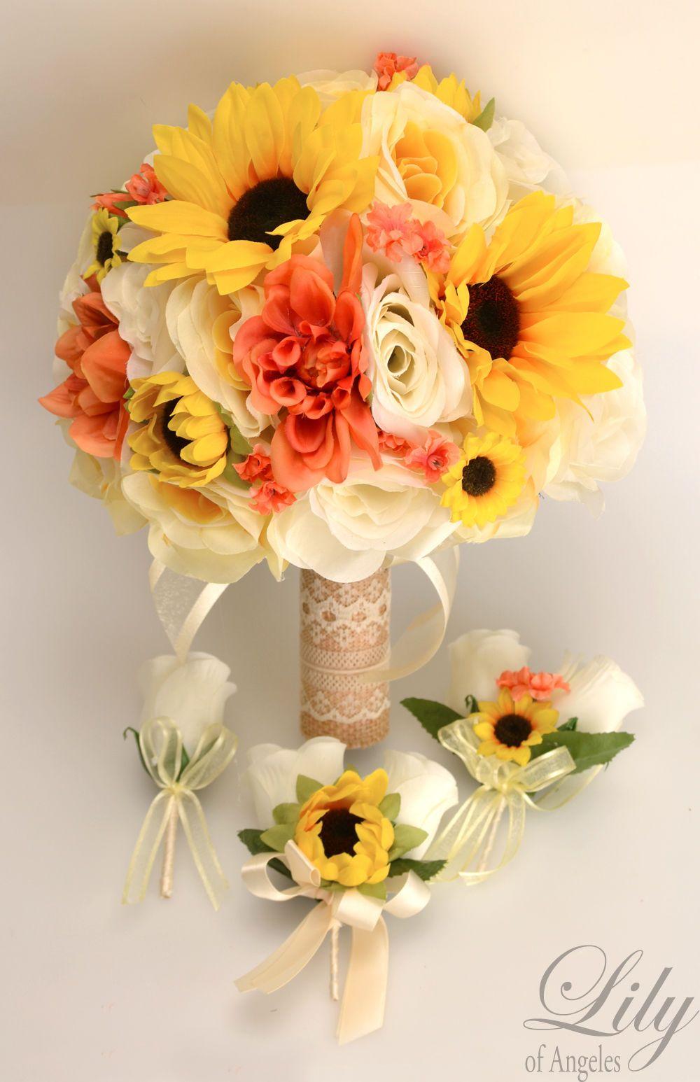 Sunflower Wedding Bouquet 17 Piece Silk Sunflower Rustic Lace