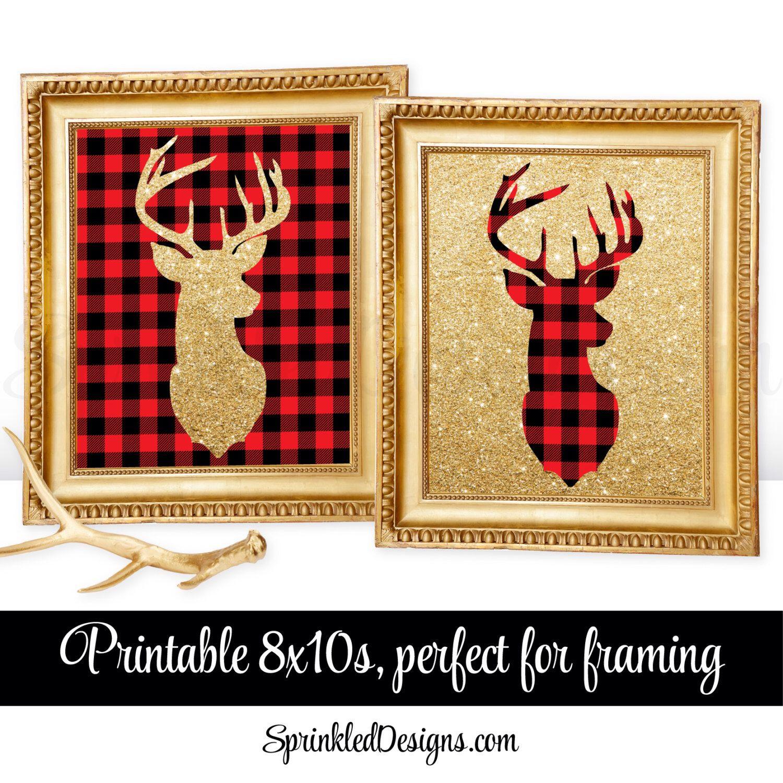 Printable Winter Home Decor - Deer Head Signs, Lumberjack Red Black ...