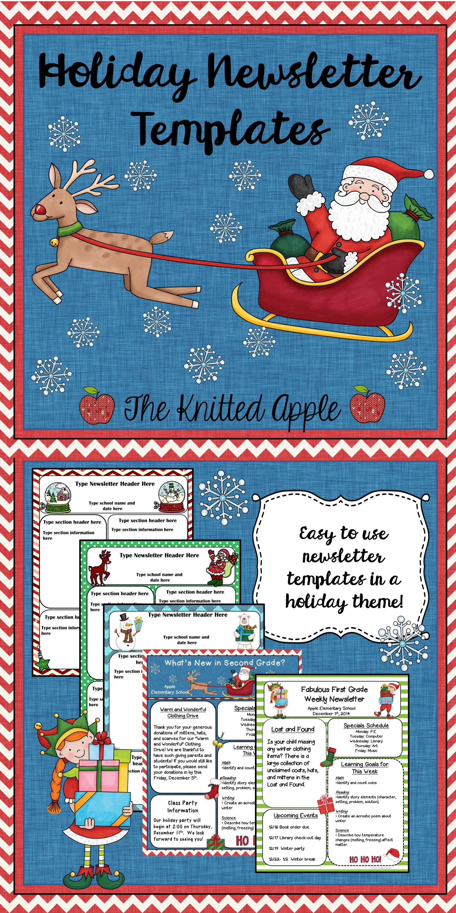 FREE newsletter templates in a festive holiday theme!