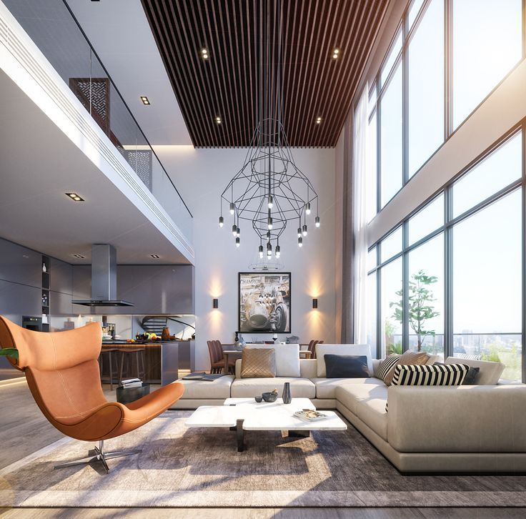 Lighting for double height ceiling in 2020   Luxury living ...