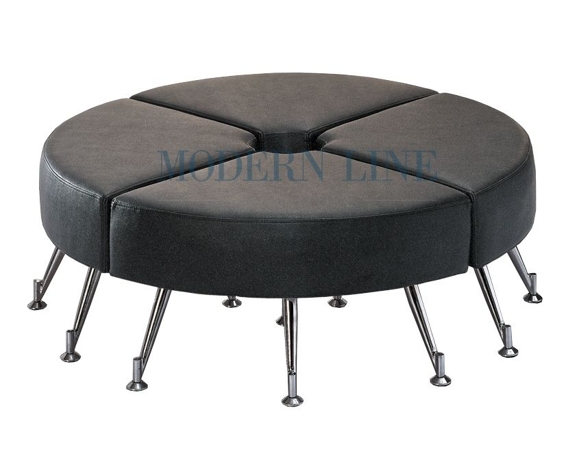 Nice Round Bench Seating Part - 9: Modern Modular Black Leather Large Round Seating Bench