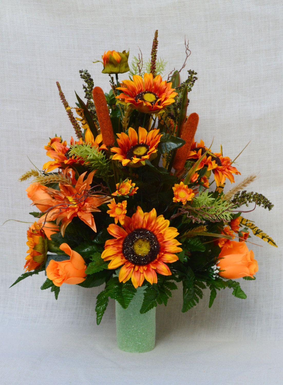 No fc901 fall cemetery arrangement autumn cone flower for Fall fake flower arrangement ideas