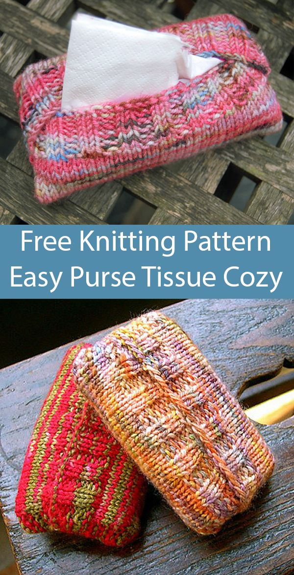 Photo of Free Knitting Pattern for Easy Cozies for Purse Size Tissue Packets