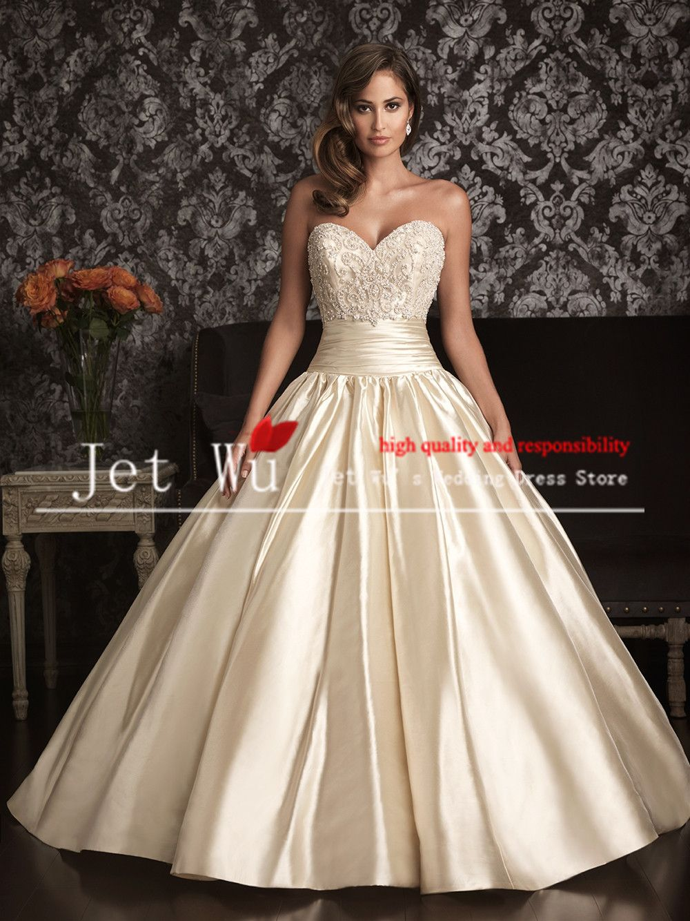 Ball Gown Beautiful Sweetheart Heavy Beading Corset Clean Skirt Chagne Color Satin Bridal Wedding Dress 2017: Corset Color Wedding Dresses At Websimilar.org