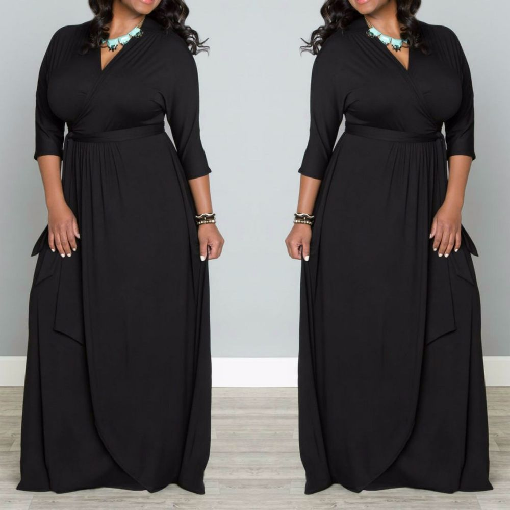 Plus Size Long Sleeve Solid Black Maxi Wrap Dress 70 S Boho Knit 1x 2x 3x 70s Maxi Dress Black Maxi Wrap Dress Maxi Dress [ 1000 x 1000 Pixel ]
