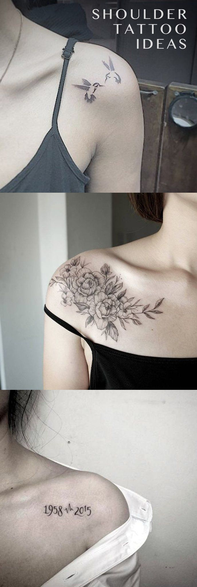 Small Delicate Shoulder Blade Tattoo Ideas for Women - Floral Flower Ideas Del Tatuaje - Sparrow Tatouage - Marriage Birthdate Idéias de tatuagem - www.MyBodiArt.com #tattoosformarriage #smalltattoos