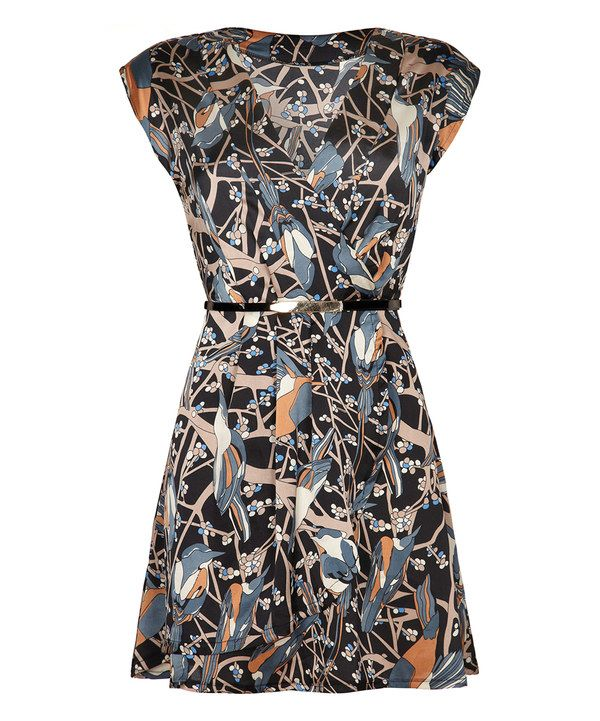 Look at this Navy Bird Belted Surplice Dress on #zulily today!