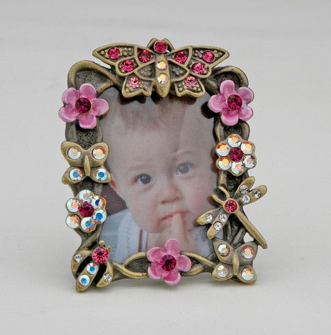 Miniature Flowers Pink Butterfly Picture Frame For A 15 Inch Photo