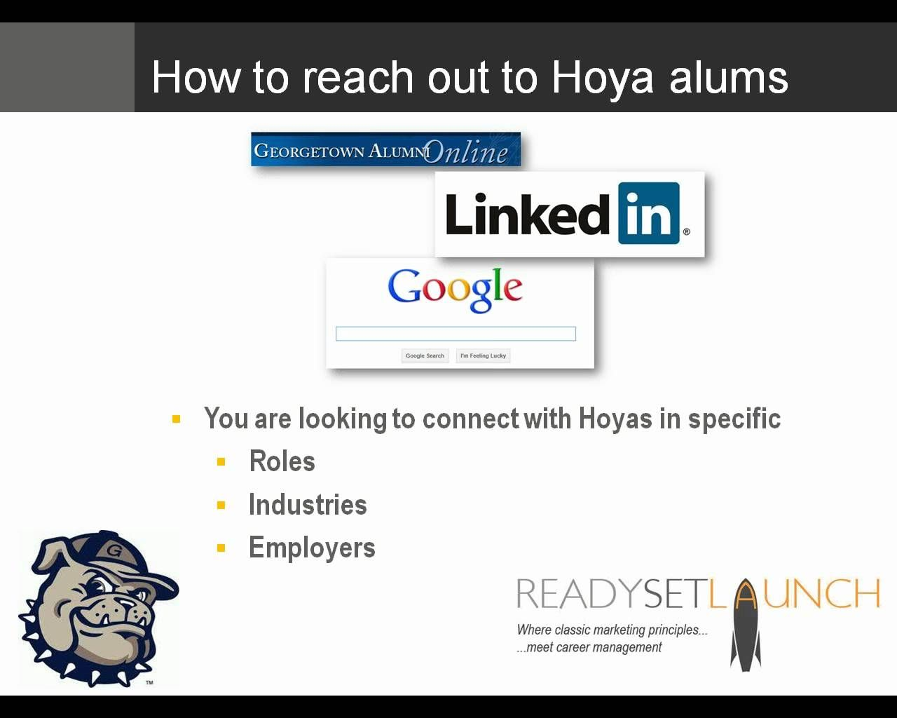 So Call Me Maybe? Strategies for Connecting to Hoya Alumni, via YouTube.
