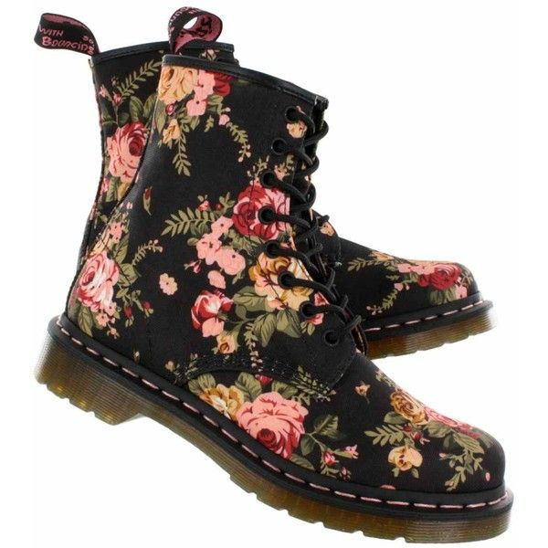 Dr Martens Women's 1460 FLOWERS 8-eye boots - UK Sizing 11821016 ($130) ❤ liked on Polyvore featuring shoes, boots, blossom footwear, blossom boots, blossom shoes, dr martens footwear and dr martens boots