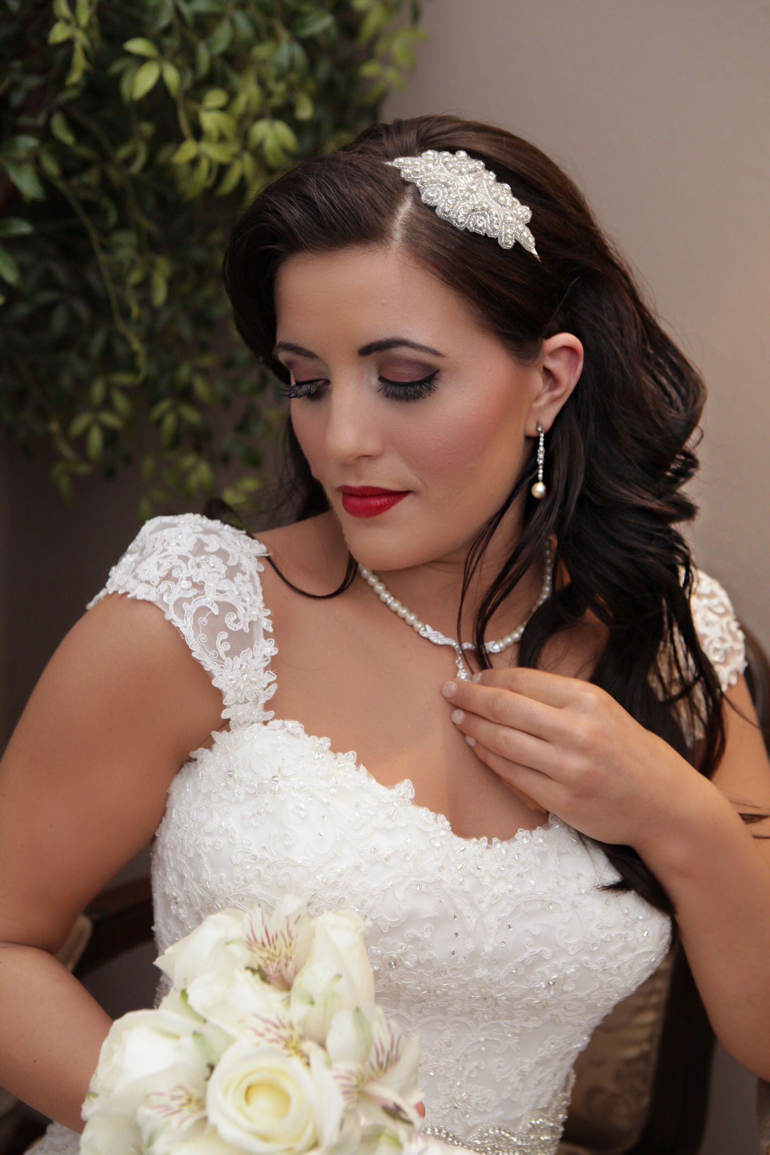 Vintage styled wedding hair and makeup Las vegas wedding