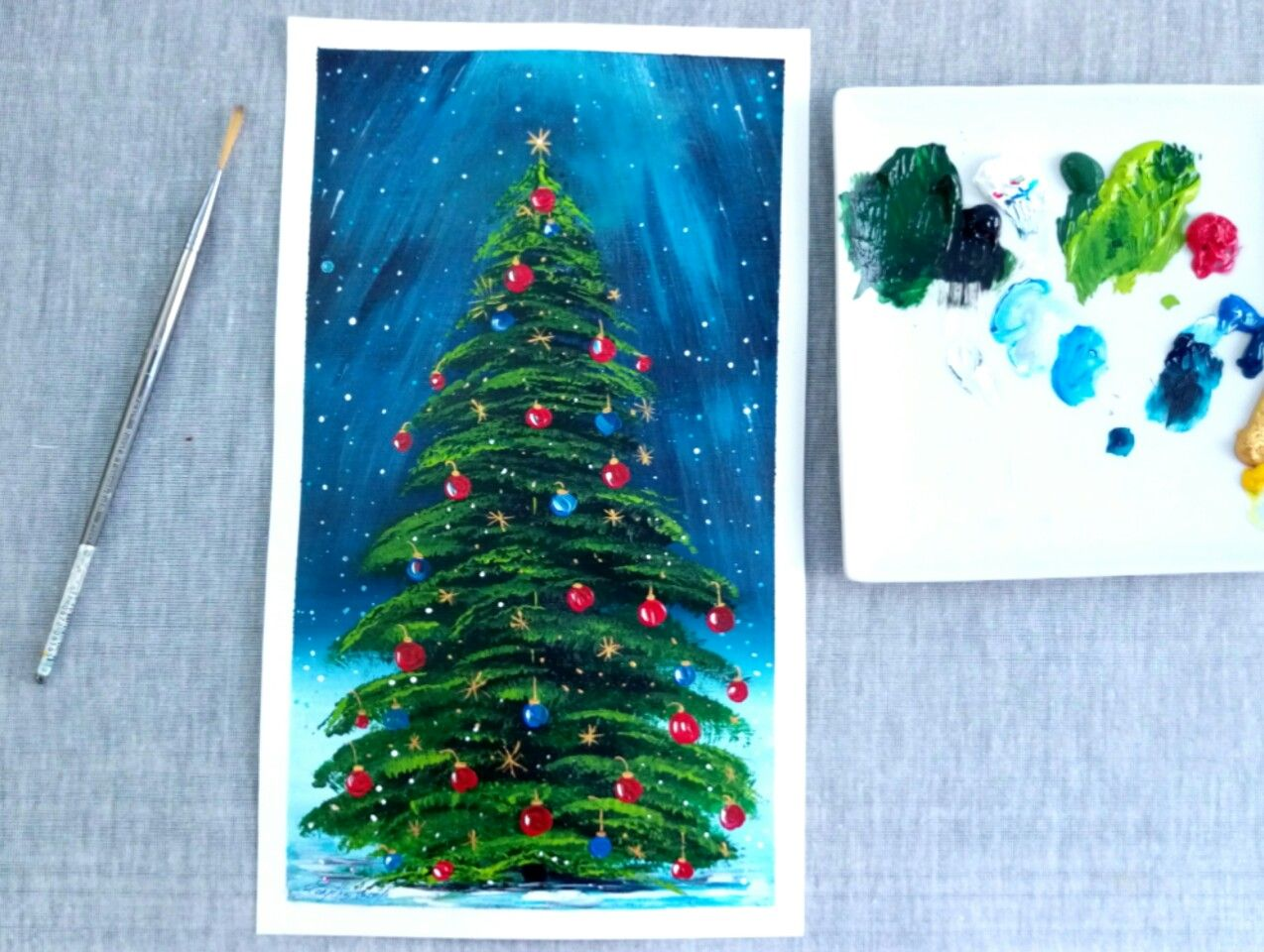 Christmas Tree Painting Christmas Tree Painting Christmas Paintings Painting Crafts