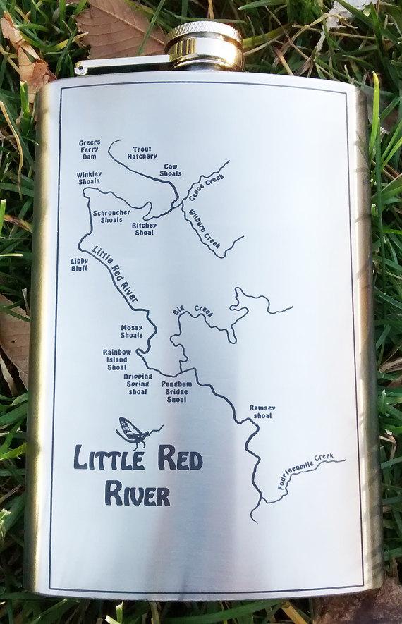 Little Red River Arkansas Map.Little Red River Map Flask For Whisky Liquor Custom Engraved With