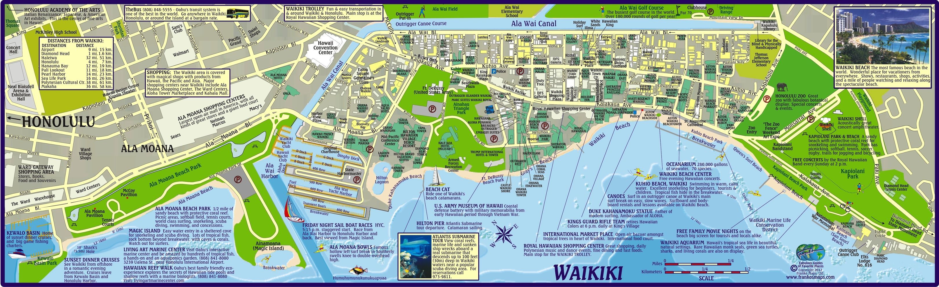 Waikiki Beach Map Hotels Hawaii Pinterest