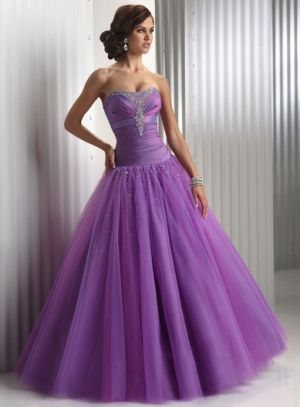 Ball Gown Long/Floor-length Tulle Lace-up Deep Prom Dress PD0FA8