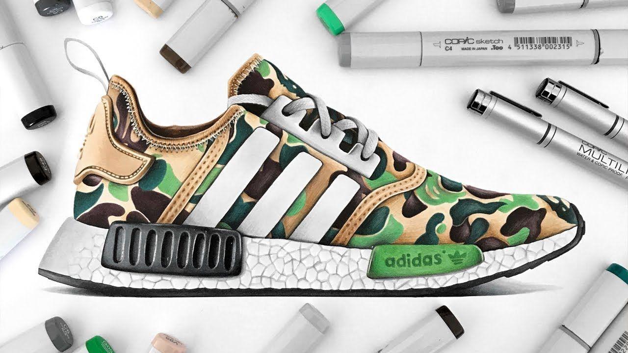 5943b6d9775d0 Drawing BAPE x Adidas NMD - YouTube | Shoesdrawing in 2019 | Adidas ...