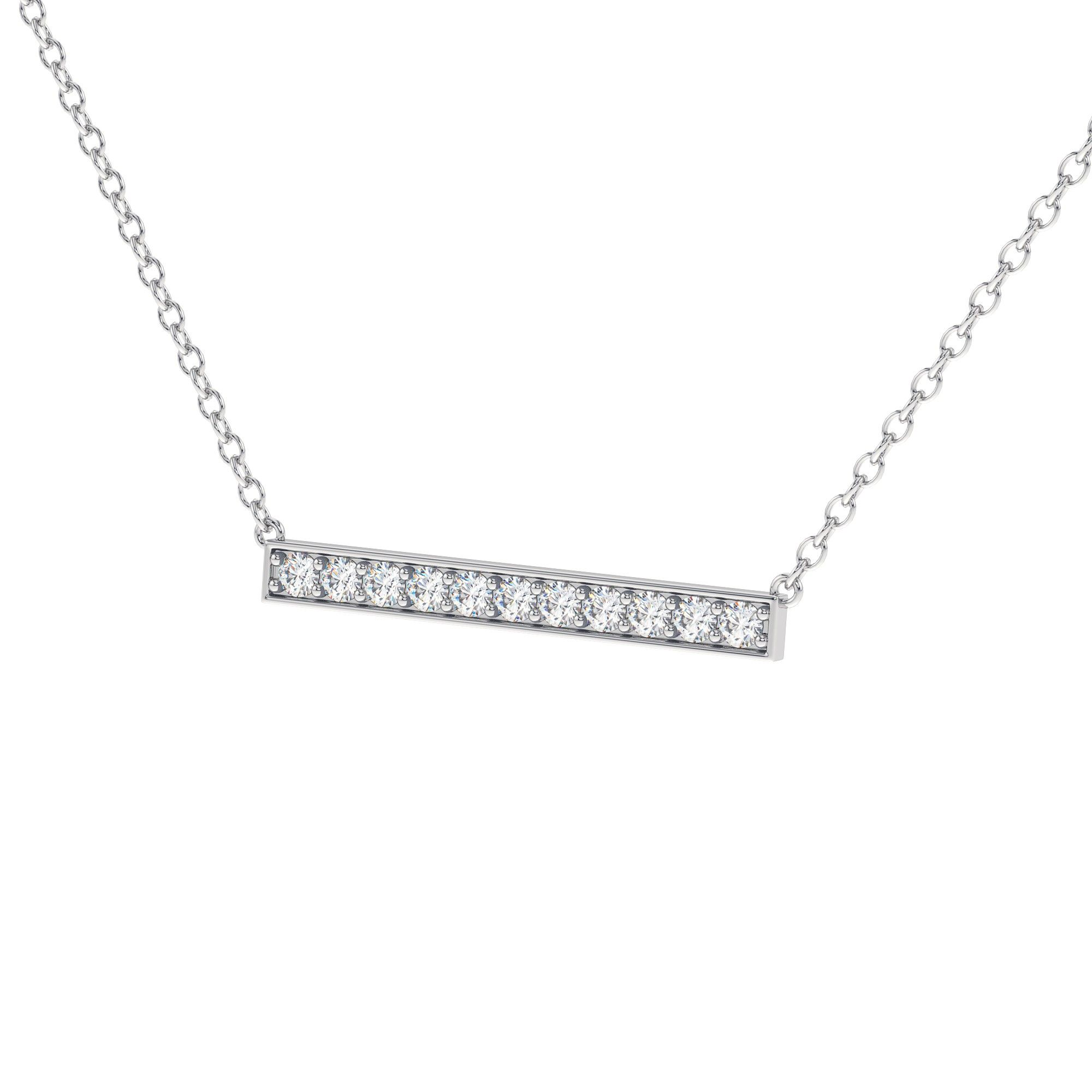 W Linear Bar Diamond Necklace Set In White Gold With 11 Shared G H I Clarity Si Color Diamonds The Pendant Is Suspended On A Lovely Cable Chain Making