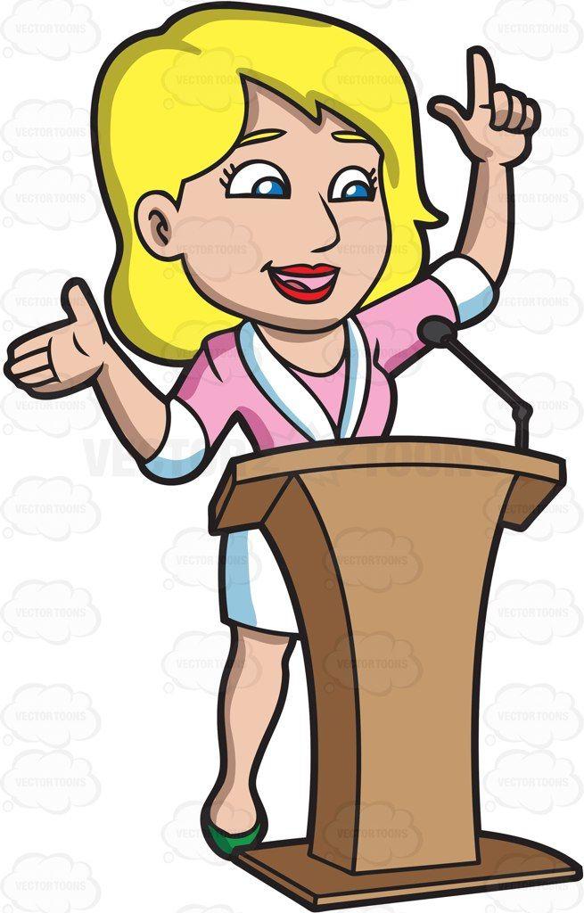 An Energized Woman Speaking Behind A Podium Cartoon Stock Clip Art Vector Toons Cartoon Clip Art Women Cartoon