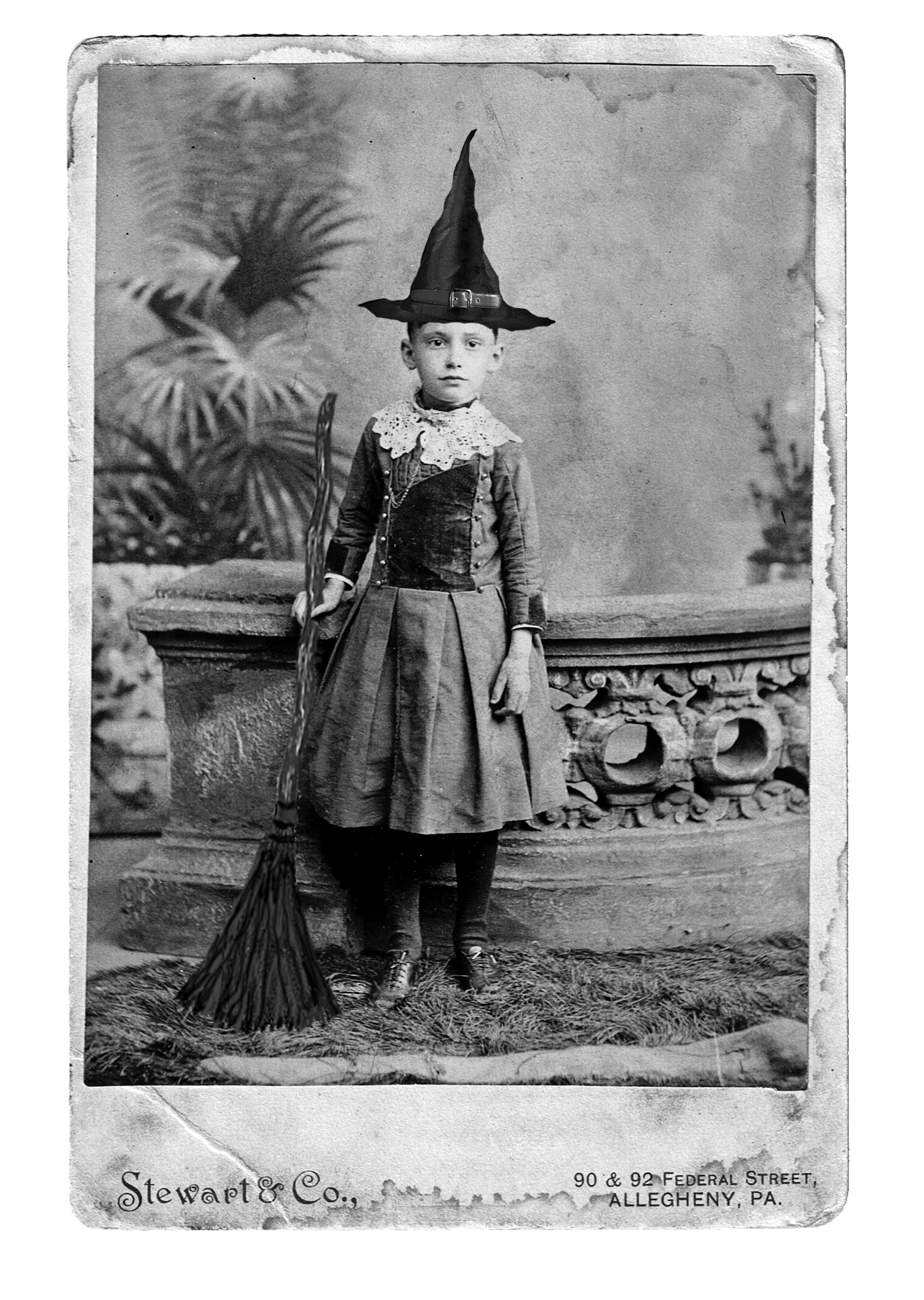 A Great Vintage Photo Of Little Girl Wearing Her Halloween Costume Witch Outfit