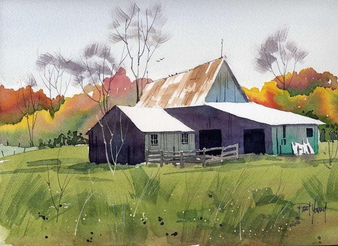 Barn in fall print from an original watercolor painting for Watercolor barn paintings