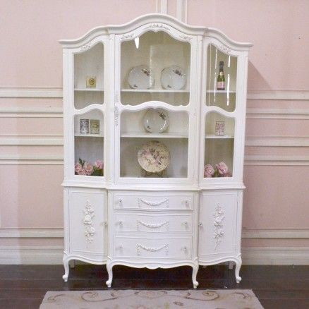 Stunning China Cabinet In White With Curvy Glass Doors 1 295 00 Thebellacottage Shabbychic Ooak White China Cabinets Glass Cabinet Doors China Cabinet