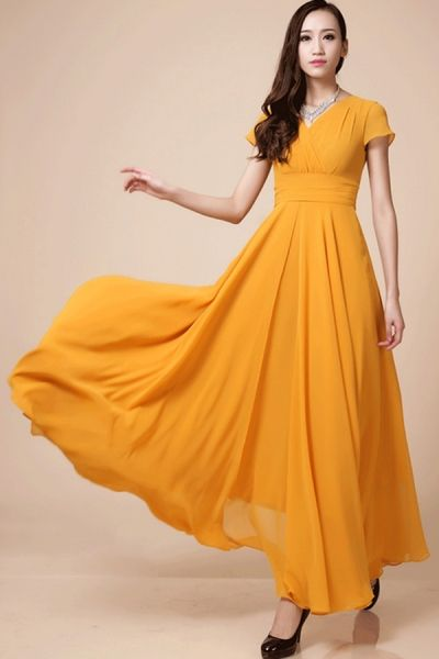 Elegant V-neck Cap-Sleeve Maxi Chiffon Dress OASAP.com