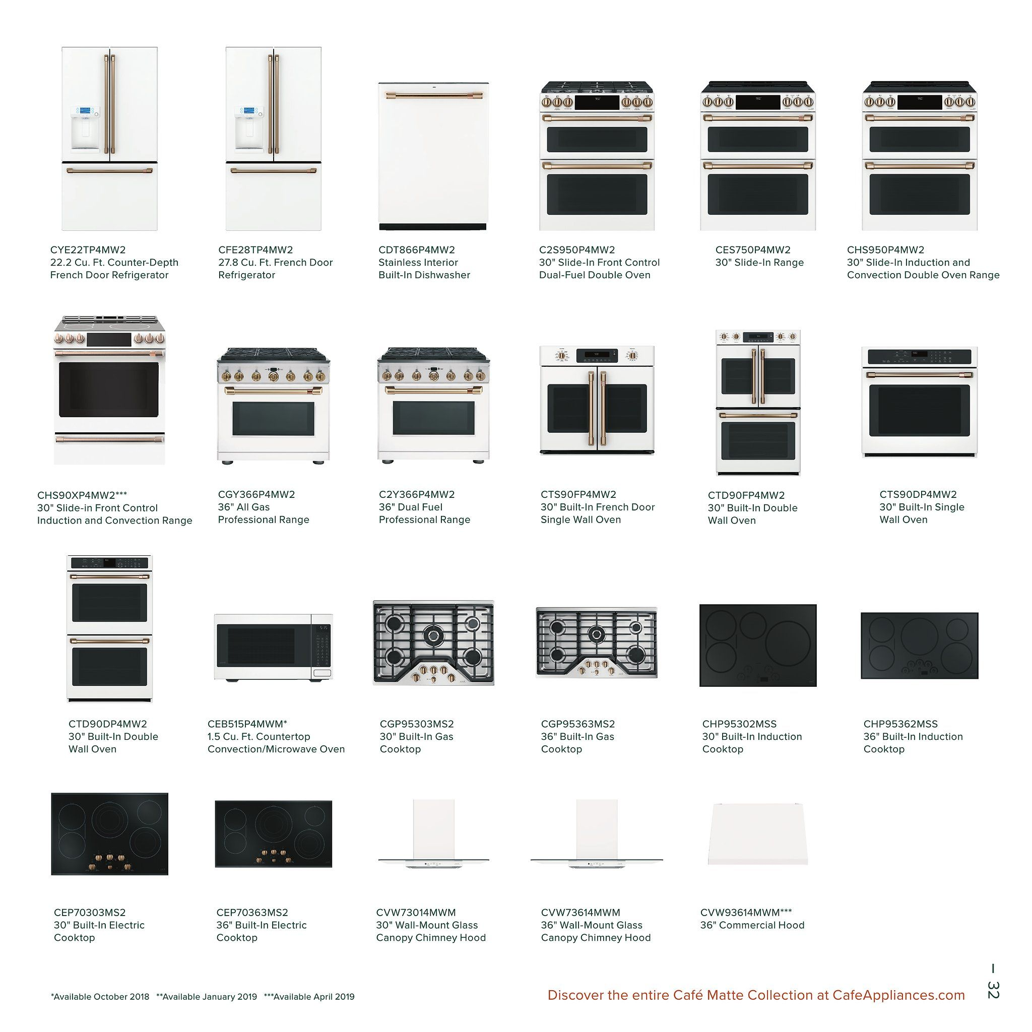 Ge Cafe Lookbook Catalog Page 35 French Door Wall Oven Cooktop With Images White Kitchen Appliances Ge Cafe Appliances French Door Wall Oven