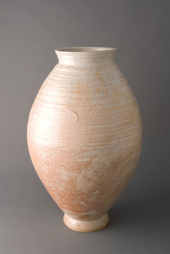 Young Jae Lee, Elongated 'moon' jar, rusty-rose glaze, stoneware, 17 x 9.5 x 9.5""