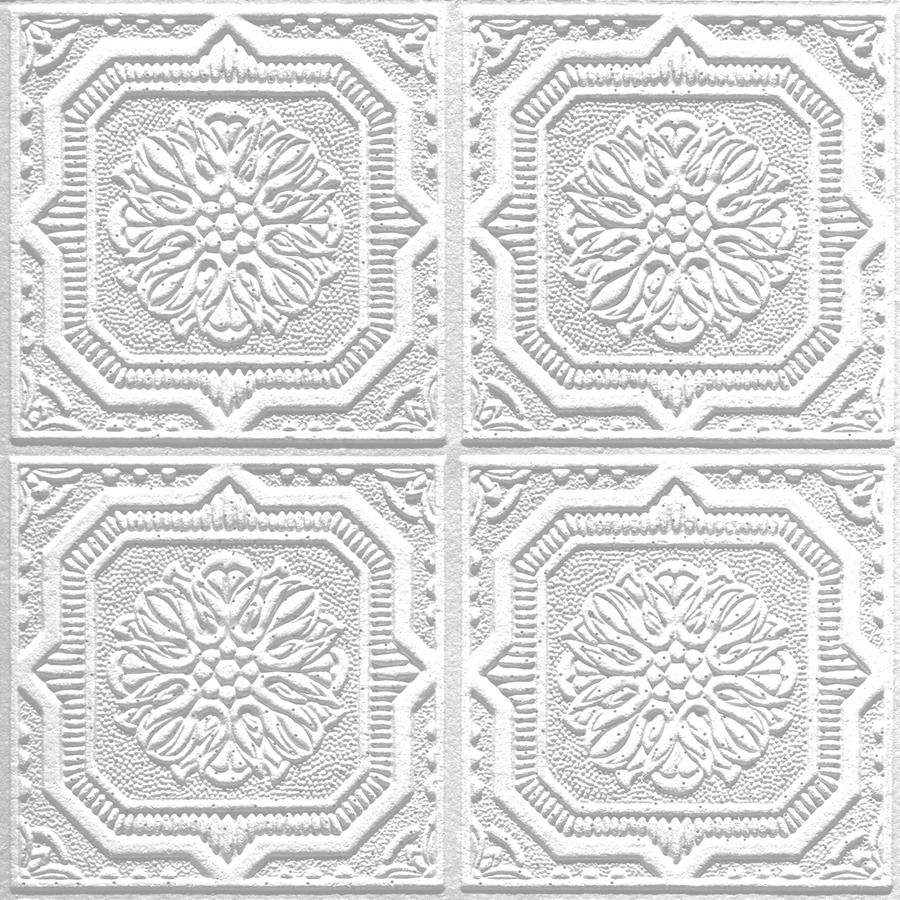 Armstrong Ceilings Common X Actual Tin Look Wellington White Faux Surface Mount Acoustic Ceiling Tiles At Lowe S Decorative Can