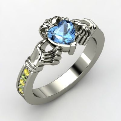pinterest yellow gold blue topaz ring | Blue Topaz Sterling Silver Ring with Yellow Sapphire Claddagh Ring