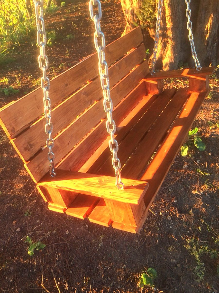 Tree swing made from wooden pallet then finished with cuprinol antique pine stain