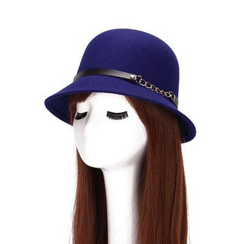 Winter Wool Felt Chapeau- Women s Fedora Hat Fashionable Bucket Hat ... 3c95f325eaef