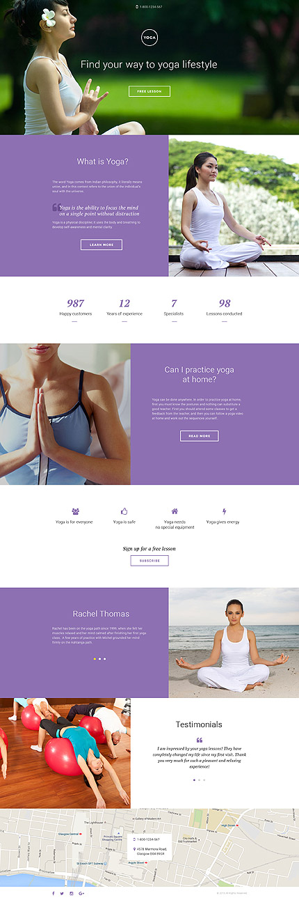 Template 58334 - Yoga Club Responsive Landing Page Template
