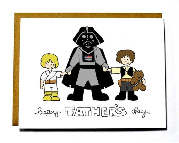 CUSTOM Father's Day card - Star Wars, father and son, father and daughter on Etsy, $4.00