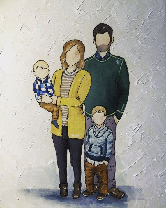 Custom Watercolor Portrait 3 4 Person By Drivensnowart On Etsy