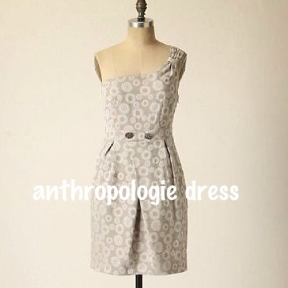 Moulinette Soeurs Anthropologie Silver Gray Dress One-shoulder cocktail dress with hip pockets.  So cool!  Rhinestone button detail with a hint of lace on the lining that may peek out now and again.  Sold out.  Handwritten tag reflects sale price as I snatched up a return...still unworn. Anthropologie Dresses