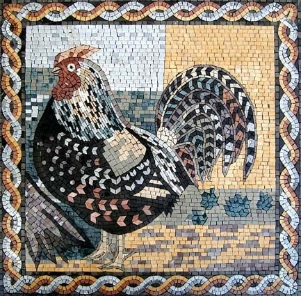 Mosaic Rooster An042 Marble Mosaic Rooster Tile