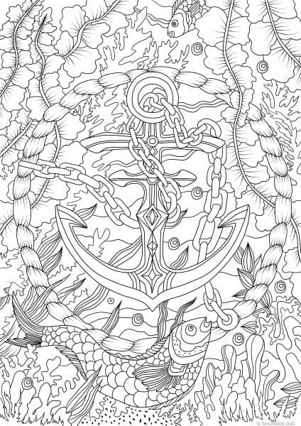 Ocean Life Anchor Under the Sea Coloring Pages for Adults Printable adult coloring pages