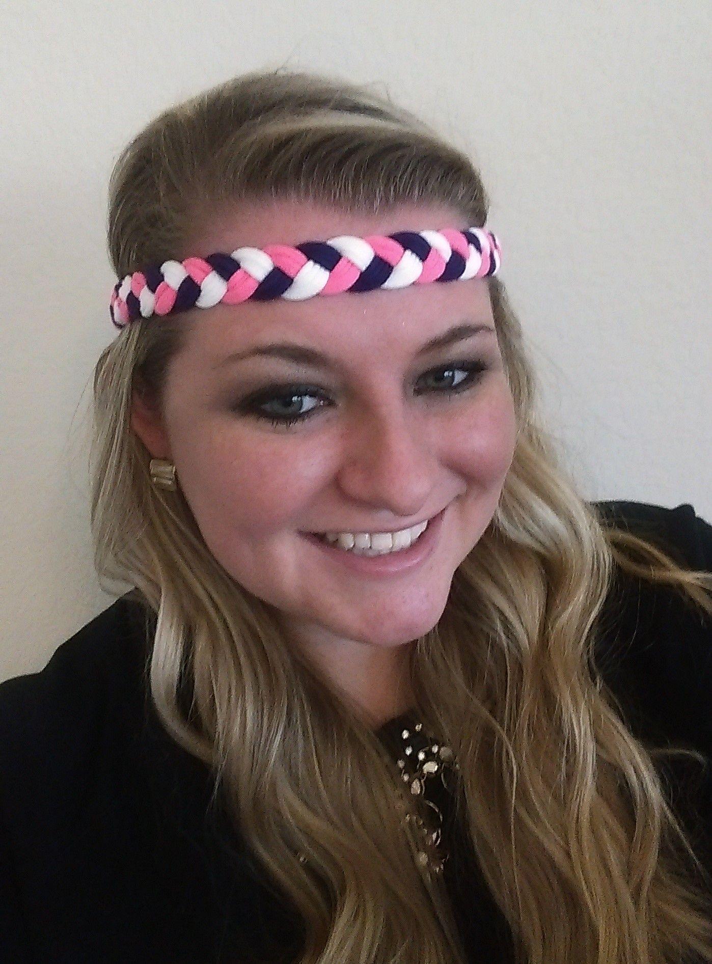 Purple Pink u White Traditional Braided Stay Put Athletic Headband