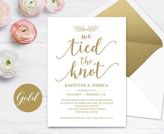 Gold Elopement Reception Invitation Template Printable Elopement