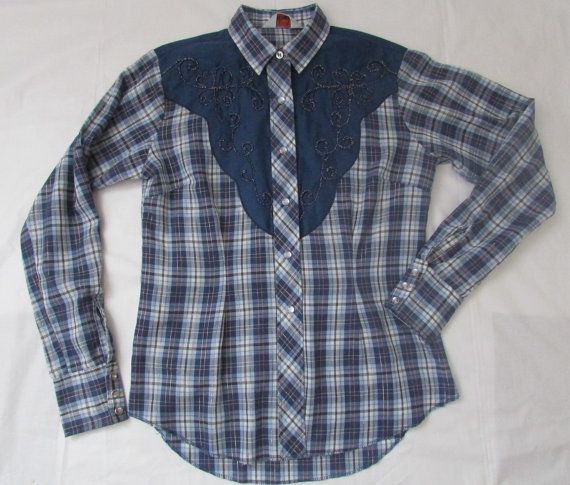 15-1016 Vintage H Bar C Ranchwear / Blue Plaid by CajunRabbit