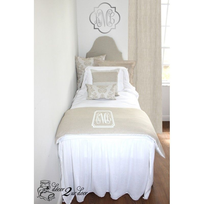 Neutral Tan And White Damask Designer Farmhouse Shabby Chic Bedding Set Dorm Decor More