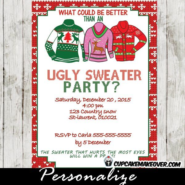 Ugly Sweater Holiday Party Invitation Personalized D6 Ugly