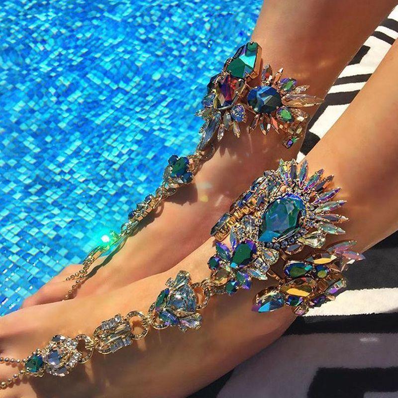 Boho Crystal Anklet Australia Beach Vacation Ankle Bracelet Sandals Sexy  Leg Chain Female Statement Asteria Lyra cd81e1b55d23