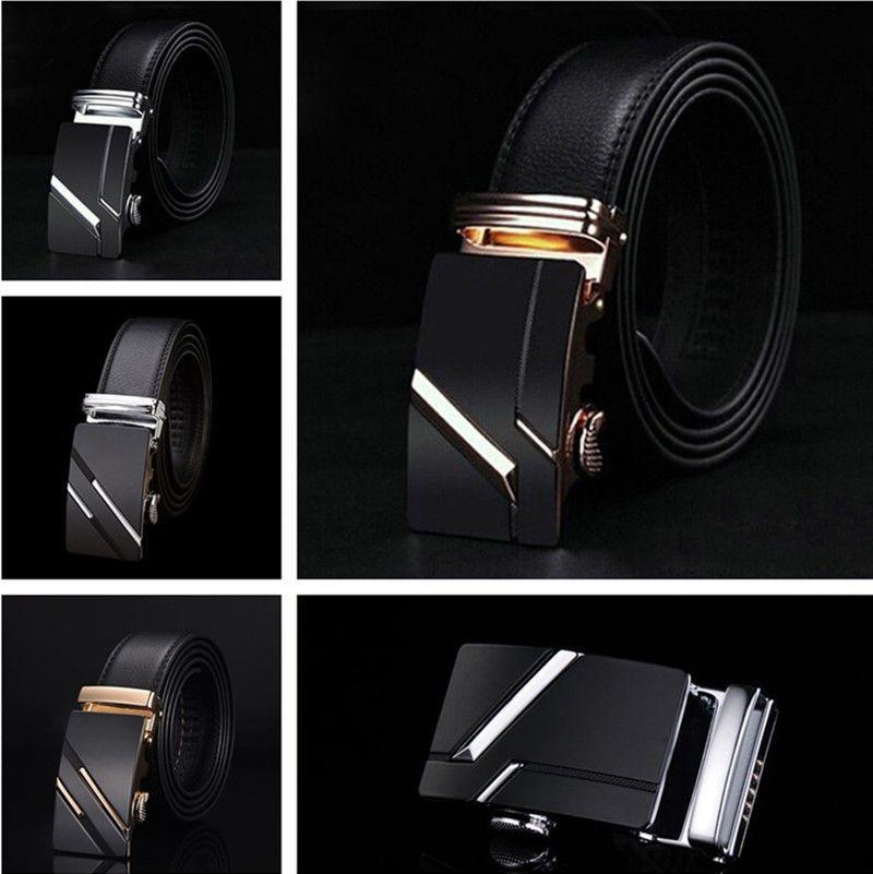 Men/'s Genuine Leather Automatic Buckle Black Brown Waist Strap Belt Waistband
